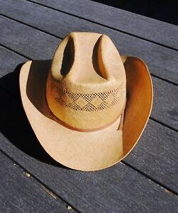 "Vtg John B. Stetson Vented Straw Cowboy Hat 7 1/4"" Western Nice!"