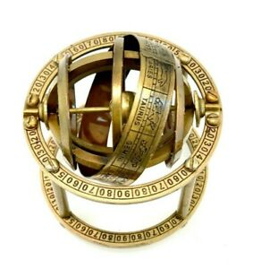 Brass Antique Finish Armillary Celestial Globe with Zodiac Engravings handmade