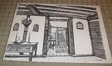 "11"" x 16"" Original Pencil Ink Drawing of an Old House Interior - Signed - Nice!"
