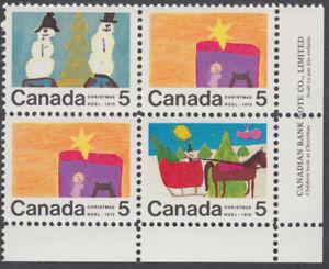 Canada - #520,521 & 523 Christmas Plate Block  - MNH