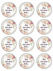 any text here floral personalised edible printed cupcake Toppers Wafer OR icing