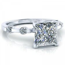 2.50 Ct Princess Cut White Diamond Engagement Solitaire Ring 925 Sterling Silver