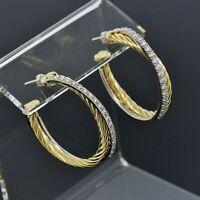 David Yurman 18K Yellow Gold Diamond Medium Cable Crossover Hoop Earrings