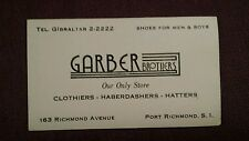 Vtg Business Card Garber Brothers Mens Store Port Richmond S.I. Staten Island NY