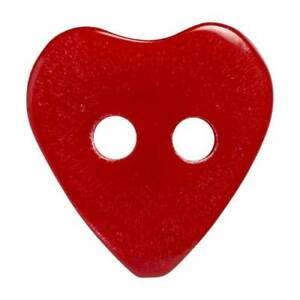 HEMLINE - red shiny heart button - 2 HOLE