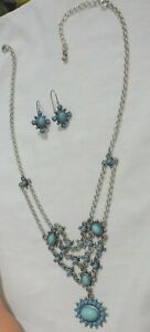 NR /AVON  PRETTY TURQUOISE NECKLACE & MATCHING EARRINGS  SILVER PLATED CHAIN