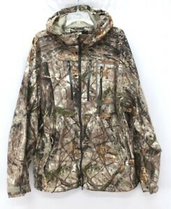 mens CABELAS GoreTex hunting jacket full zip hooded woodland camo quiet 2XL