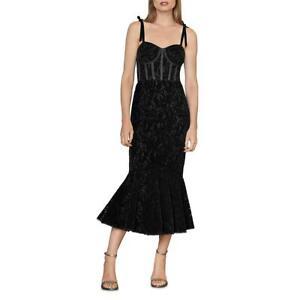 ML Monique Lhuillier Womens Black Velvet Formal Evening Dress Gown 12 BHFO 4531