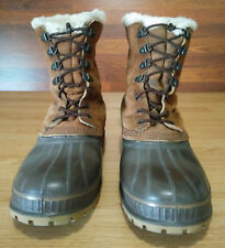 Mens 10 Sorel Leather Rubber Removable Lined Pac Winter Outdoor Hunting Boots