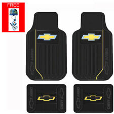 New 5pc Chevy Elite Bowtie Logo Front Back Rubber Floor Mats & Keychain Set