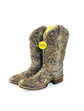 USED CORRAL WESTERN WOMENS BOOTS CRATER TAN INLAY BRONZE STUDS SIZE 9