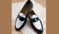Handmade Men's Brown white leather shoes, Men slip ons party dress leather shoes