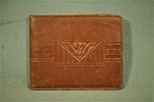 vintage old 1940s 1950s embossed soft brown leather men's thin wallet