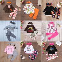 3Pcs Toddler Kids Baby Girl Outfits Clothes T-shirt Tops+Long Pants Leggings Set