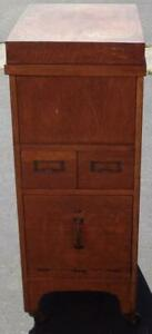 Antique Full-Size Card File with File Cabinet Drawer – Solid Wood – Auto Lock