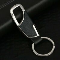 Men Creative Metal Genuine Leather Key Chain Ring Keyfob Car Keyring Keychain