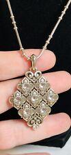 BRIGHTON ALCAZAR Swarovski Crystal Silver Floral Heart Pendant Necklace NWT $58