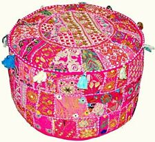 Indian Embroidery Round Pillows Decorative Bedroom Ottomans Poufs Throw Pouffe