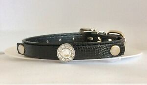 Chihuahua Tea Cup Collar Black  Oval  Rhinestone Snakeskin   Size X Small New Uk