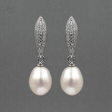 White Pearl Freshwater CZ 925 Sterling Silver Drop Dangle Earrings 01078 New