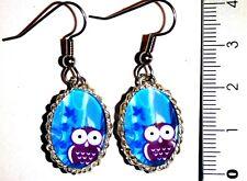Ohrringe Eule Tiere Blau Cabochon Glas Oval Damen Ohrschmuck Modeschmuck