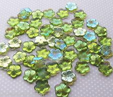 Pk of 6 Large Green AB Pressed Czech Glass Flower Beads 20mm Light Green