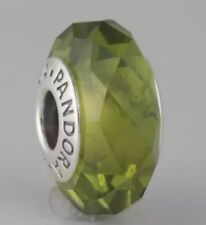 "Pandora "" Olive Green Faceted "" Glass Murano Charm # 791729NLG"