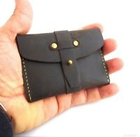 Men's Natural Leather Credit Card Case Mini Wallet 2 Slots Back Pocket Size Slim