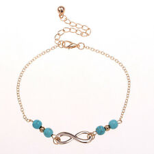 Turquoise Beads Ankle Bracelet Foot Feet Sandal Silver Chain Anklet Jewelry
