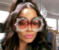 Oversized Goggles w/Rhinestone Women Fashion Shades- Red