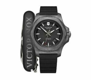 Victorinox I.N.O.X Carbon Mechanical Black Dial Rubber Band Men's Watch 241866.1