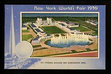 New York World's Fair 1939 linen postcard Federal Building aerial view 127