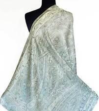 White Silk Jamavar Shawl from India Reversible  Indian Jamawar Wrap Pashmina