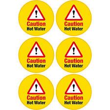 6 x Caution Hot Water Vinyl Sticker 65mm Hazard Warning Home Business Shop
