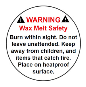 120 Round Wax Melt Candle Stickers / Labels - Safety Warning Law Legal