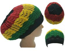 Rasta Dread Tam Cap Hat  Beret Beanie Knit Crochet Slouchy Hair Net Black Green