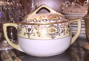 Noritake16034 Sugar Bowl Gold Gilt Onate Porcelain Antique Vtg