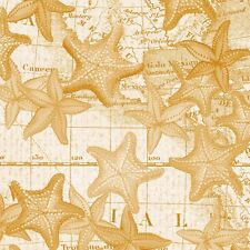 Cotton Fabric High Tide Whistler Studios Collection Gold Starfish 42817-6 BTY