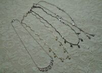 VINTAGE TO NOW RHINESTONE & FAUX PEARL DANGLE SILVER TONE CHAIN NECKLACE LOT
