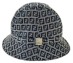 FENDI Vintage Zucca Monogram FF Logo Bucket Hat Gray/Black One Size
