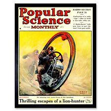 Revista De Ciencia Cubierta popular futuro Mono Rueda de EE. UU. impresión de arte enmarcado 12X16
