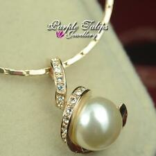 18CT White/Rose Gold Plated Pearl& Made With SWAROVSKI Element CRYSTAL Necklace