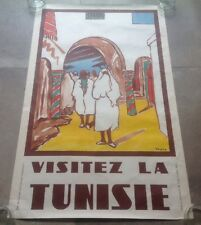 Rare Affiche de YAHIA - VISITEZ LA TUNISIE - 1950' - RENE SICARD - PARIS