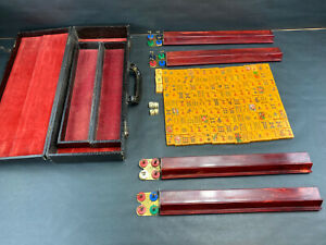 Vintage Chinese 1930's / 40's  Bakelite Butterscotch Mahjong Set 156 Piece
