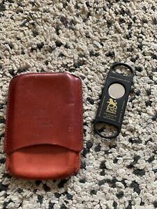Henri Wintermans Leather Cigar Holder Case And Cutter. Vintage
