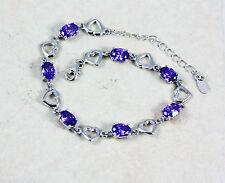 Pretty Solid 925 Sterling Silver, Heart Purple Amethyst Bracelet/ Bangle +box,56