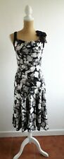 Teatro Size 10 black abstract cowl neck flamenco dress lined