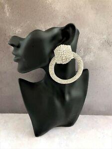 Big Diamante Hoop Earrings Door Knocker Style in silver tone 8.5 cms drop