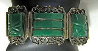 Vintage Patino Taxco Mexico Carved Green Onyx Wide Hinged Panel Aztec Bracelet