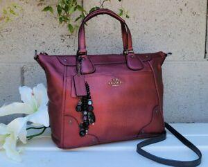 Coach MICKIE METALLIC cherry GRAIN LEATHER SATCHEL34040 purse crossbody handbag